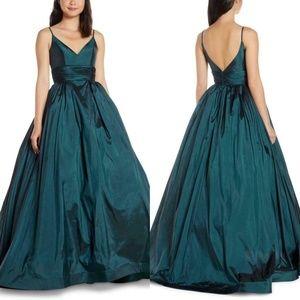 NEW Mac Duggal V-Neck Satin Ruched Waist Ball Gown